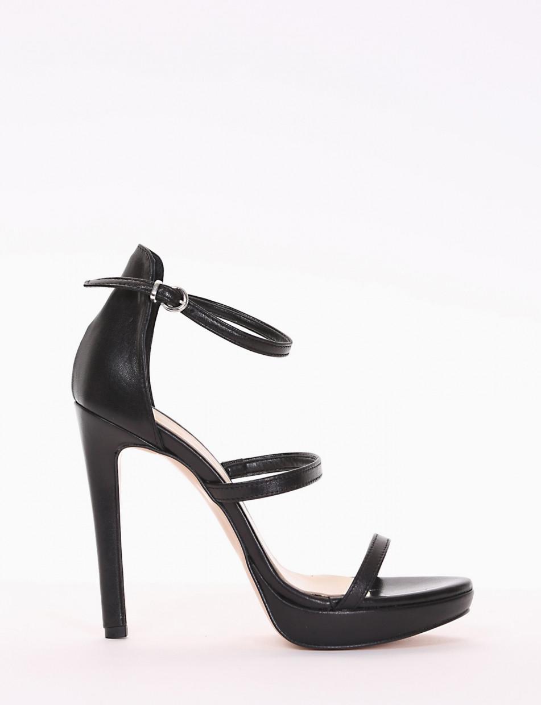 High heel sandals heel 12 cm black leather