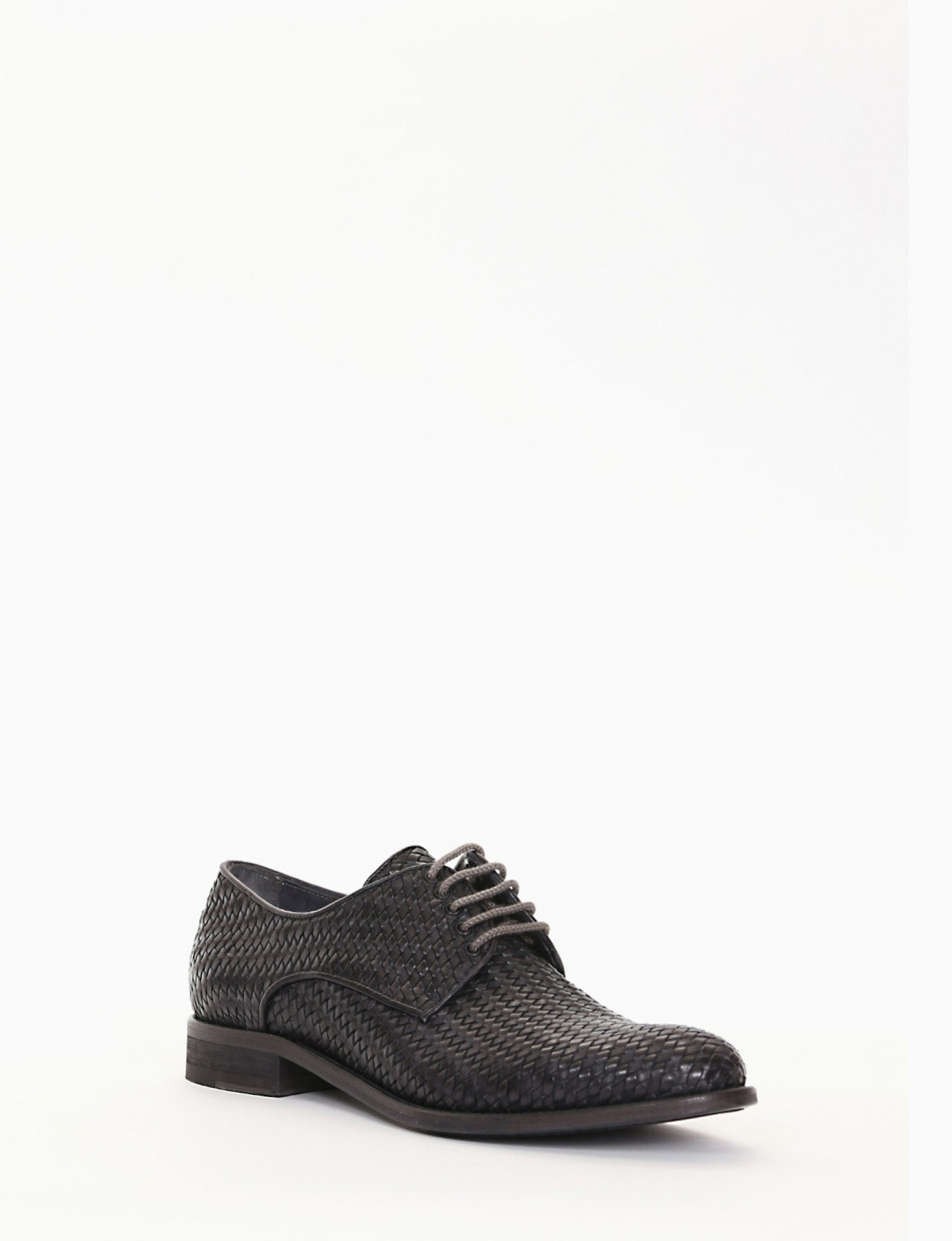 Lace-up shoes heel 2 cm grey leather