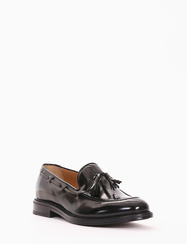 Loafers heel 2 cm black brushed