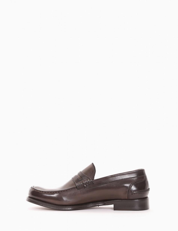 Loafers heel 2 cm dark brown leather