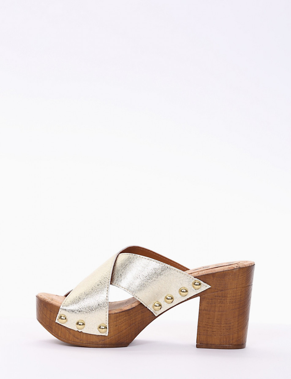 Slippers heel 8 cm gold laminated