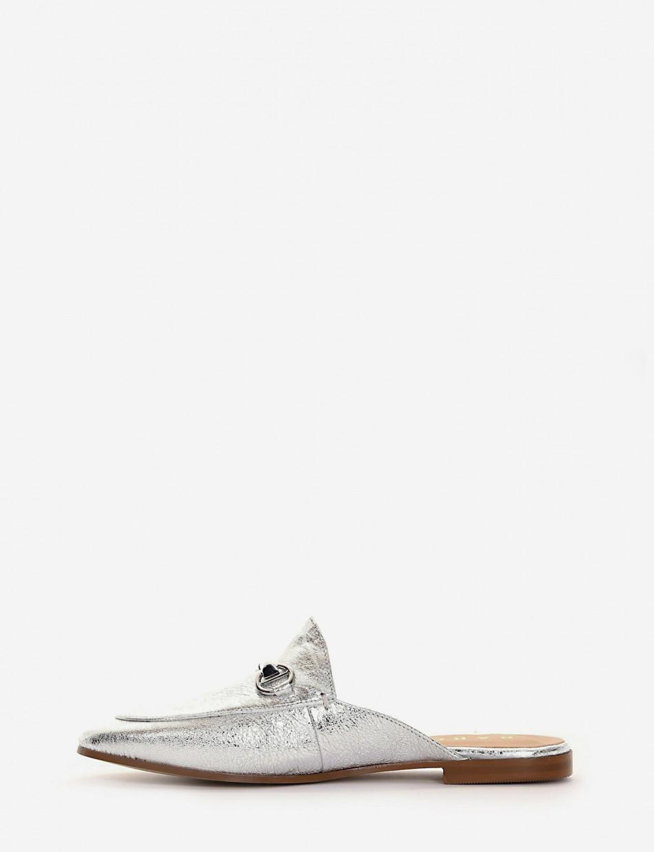 Sabot heel 1 cm silver leather
