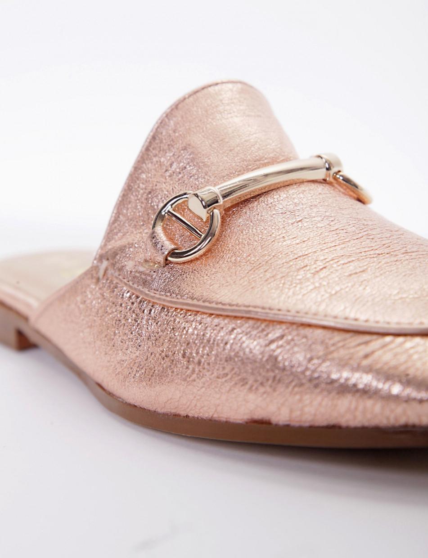 Sabot heel 1 cm pink leather