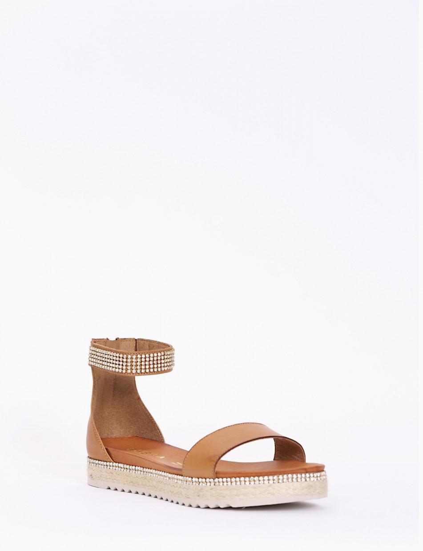 sandalo tacco3 cm cuoio
