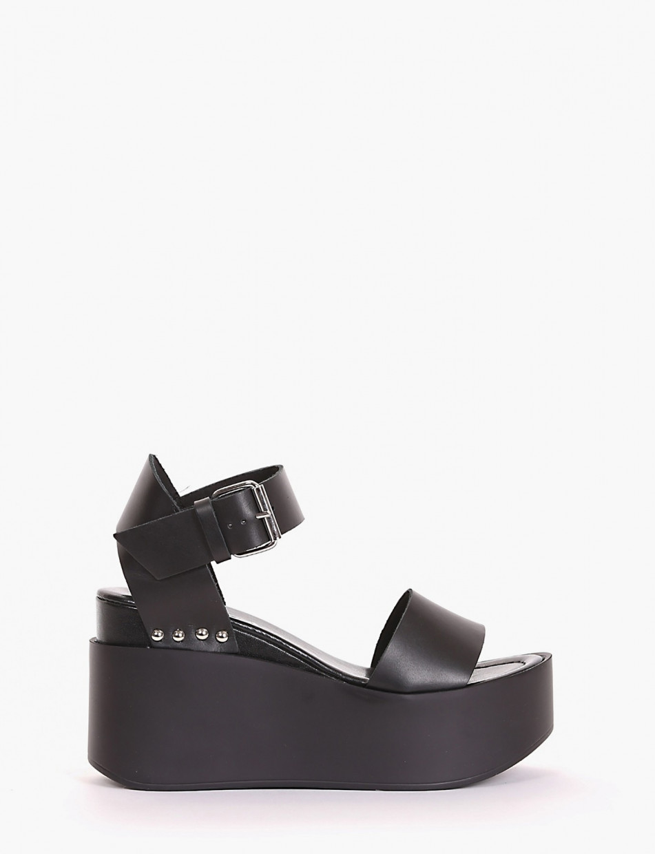 Wedge heels heel 6 cm black leather
