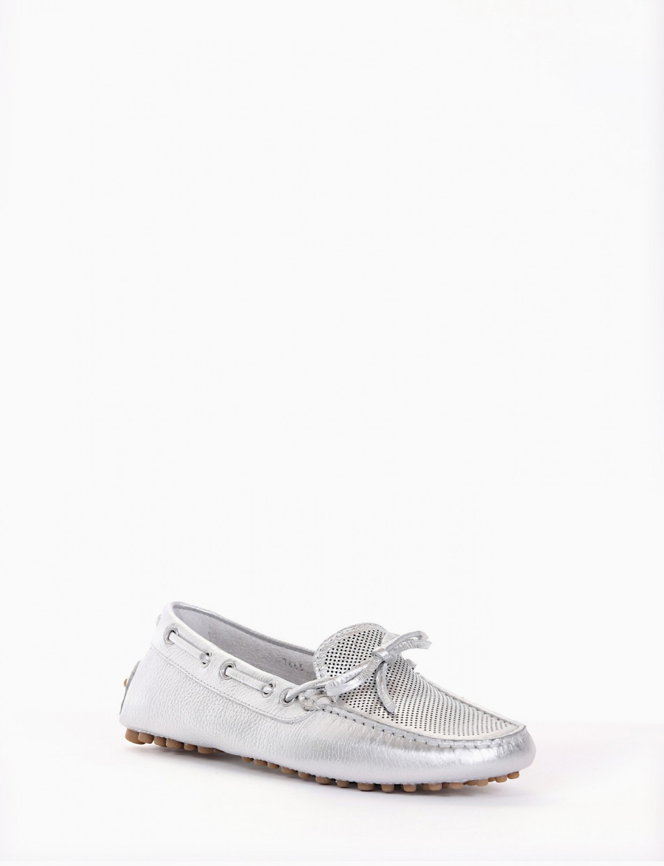 Loafers heel 0 cm silver leather
