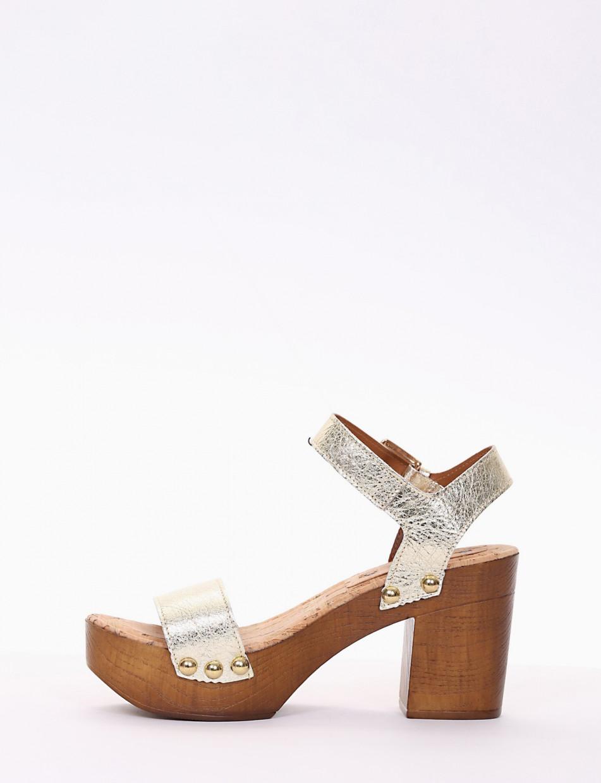 High heel sandals heel 8 cm gold laminated
