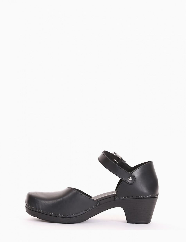 Sneakers heel 4 cm black leather