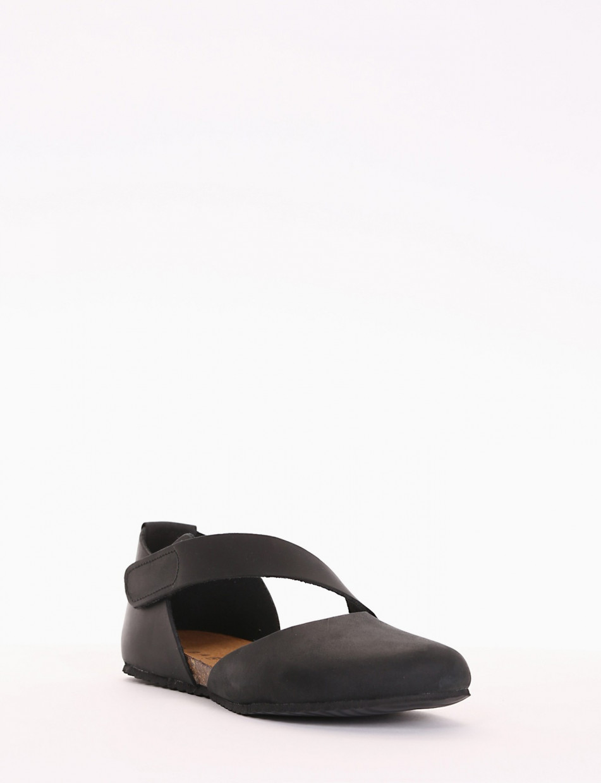 Flat shoes heel 0 cm black nabuk