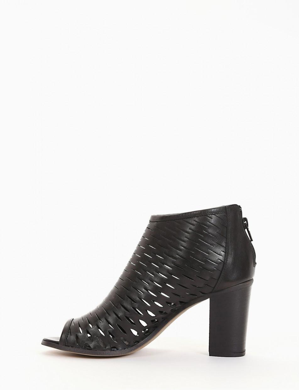 High heel sandals heel 8 cm brown leather