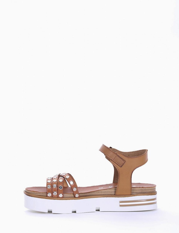 Low heel sandals heel 1 cm leather