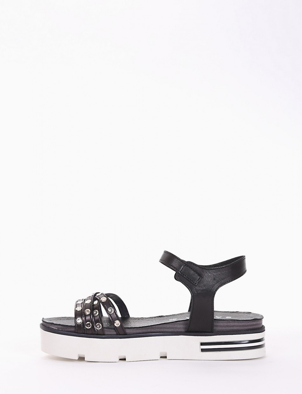 sandalo zeppa nero