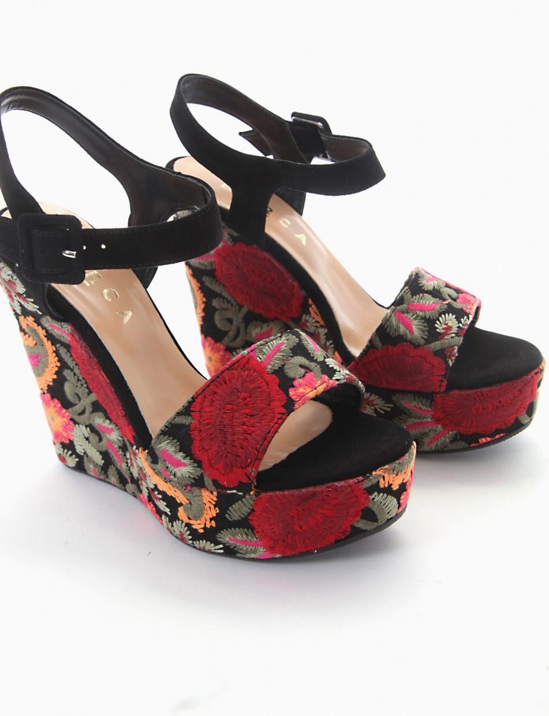 Wedge heels multicolor leather