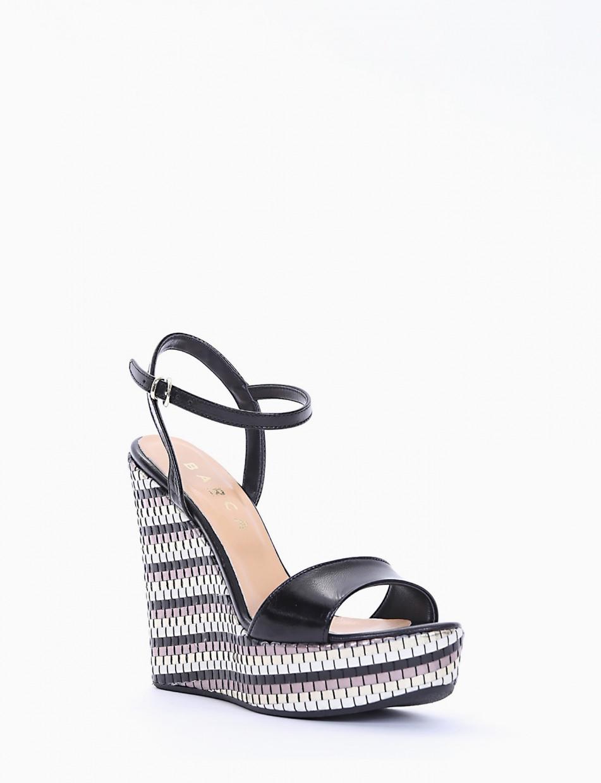Wedge heels heel 13 cm black leather