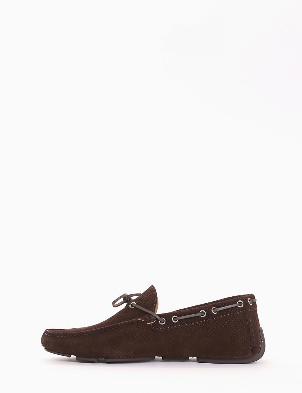 Loafers heel 0 cm dark brown chamois