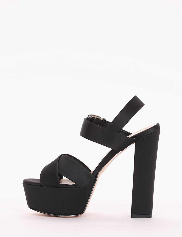 High heel sandals heel 14 cm black satin