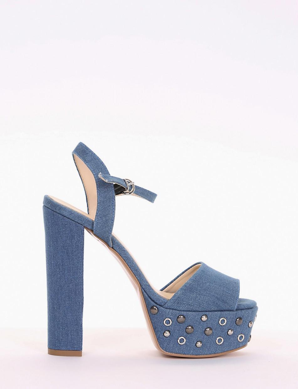High heel sandals heel 14 cm jeans tissue