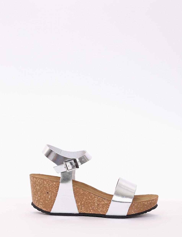 Wedge heels heel 5 cm silver laminated