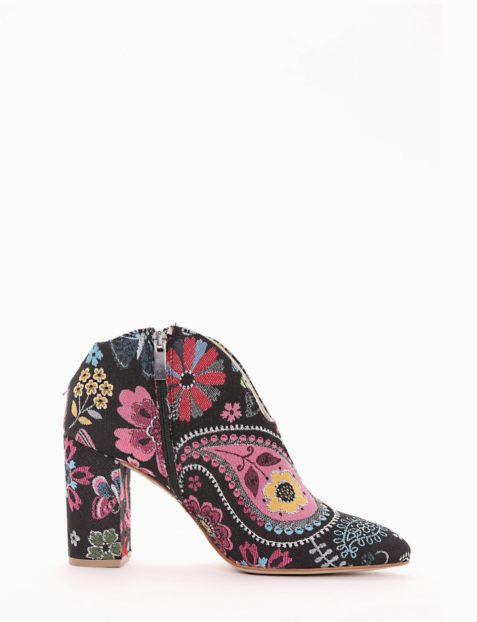 High heel ankle boots heel 8 cm multicolor tissue