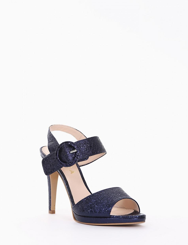 High heel sandals heel 11 cm blu laminated