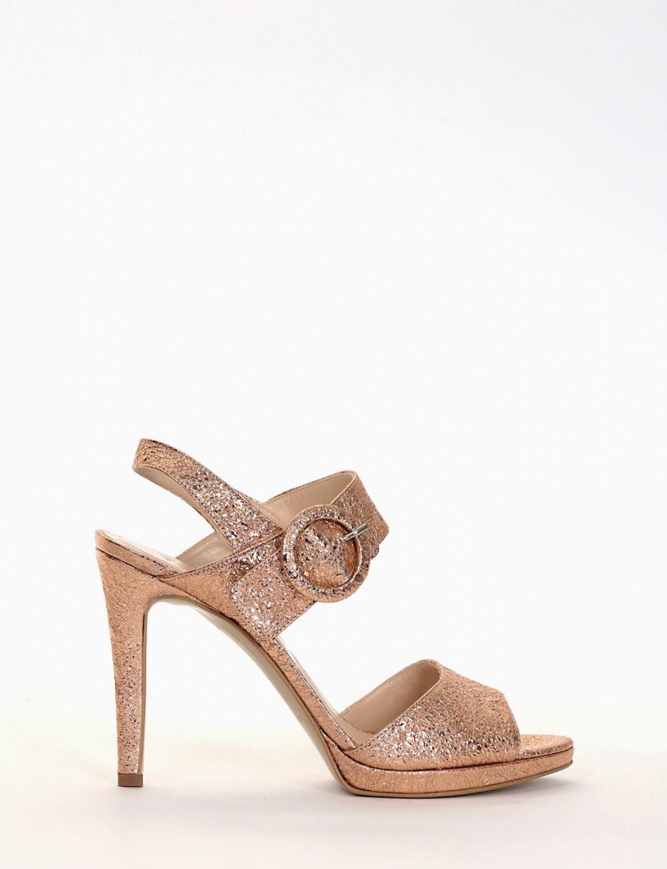 High heel sandals heel 11 cm copper laminated