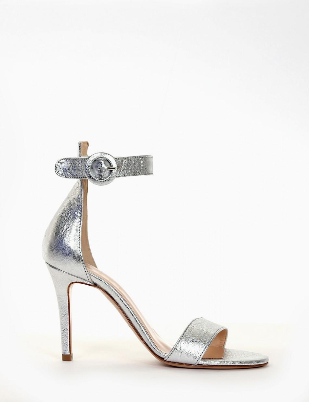High heel sandals heel 10 cm silver laminated