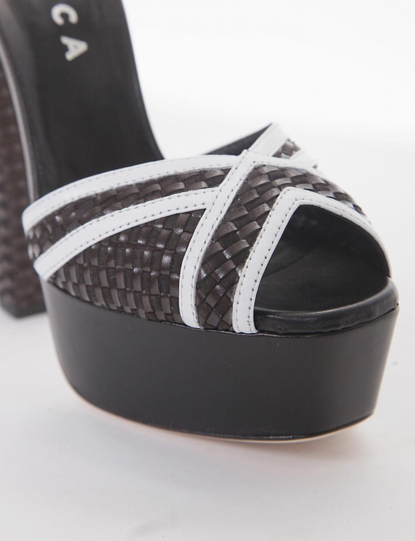 High heel sandals heel 14 cm dark brown leather
