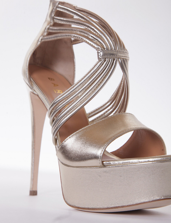 sandalo tacco 13 cm platino