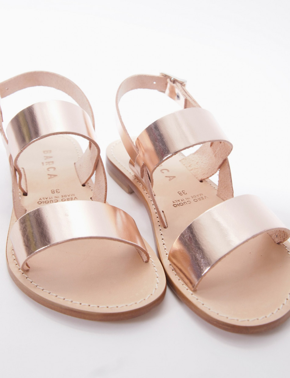 Low heel sandals heel 1 cm copper laminated