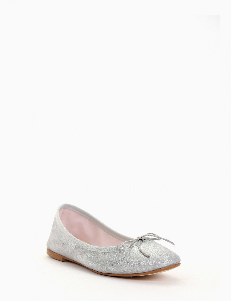 Flat shoes heel 5cm silver laminated