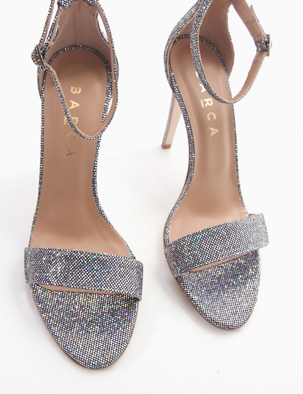 High heel sandals heel 10 cm silver glitter
