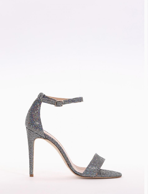sandalo tacco 10 cm argento
