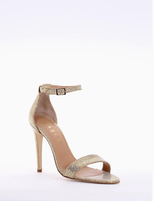 High heel sandals heel 10 cm gold glitter