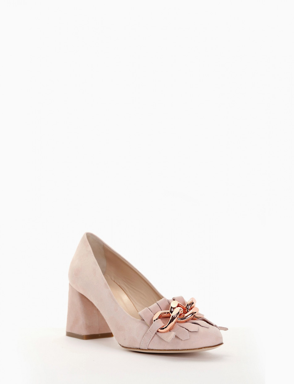 Loafers heel 7cm pink chamois