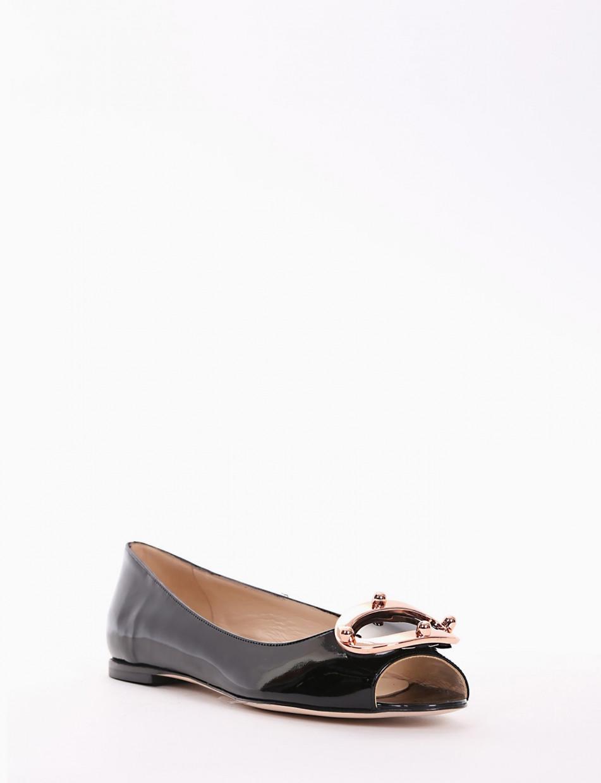 Flat shoes heel 1cm black varnish
