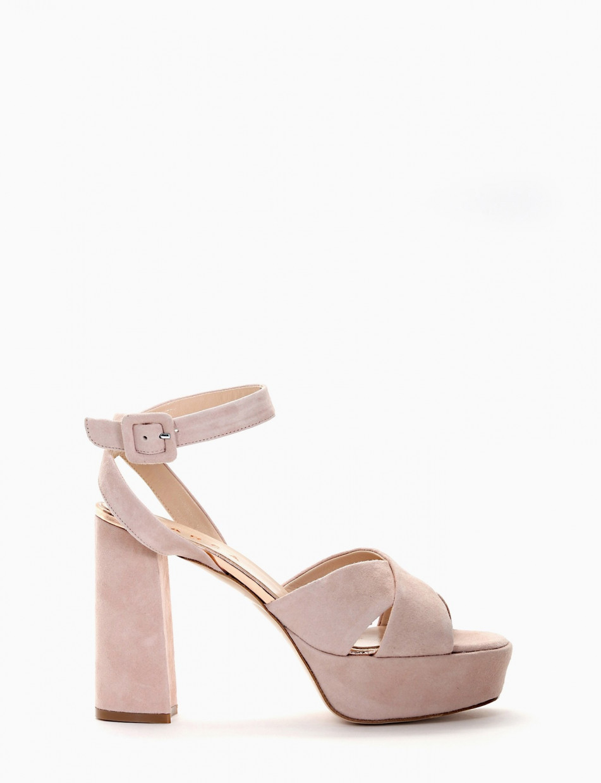 High heel sandals heel 11 cm pink chamois
