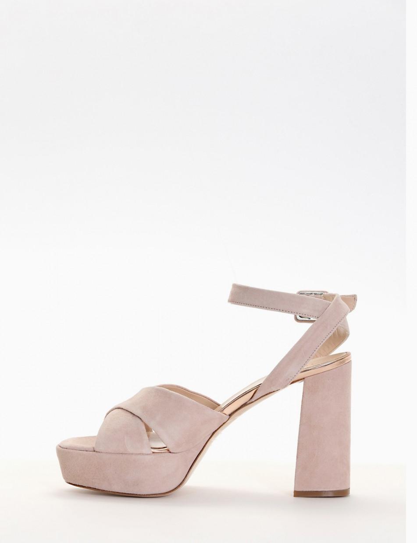 Sandalo plato 4cm con  tacco 11cm  rosa
