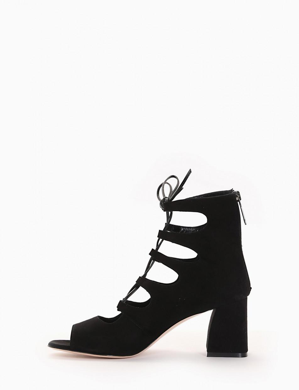 High heel sandals heel 7 cm black chamois