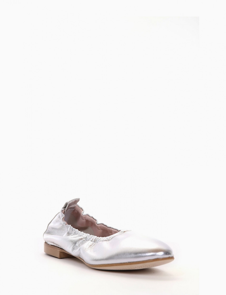Flat shoes heel 1 cm gold leather