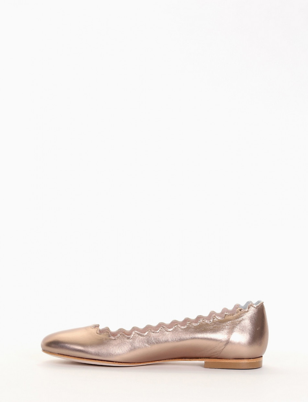 Flat shoes heel 1 cm bronze laminated