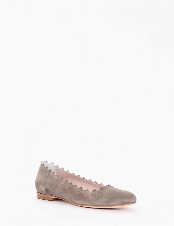 Flat shoes heel 1 cm beige chamois
