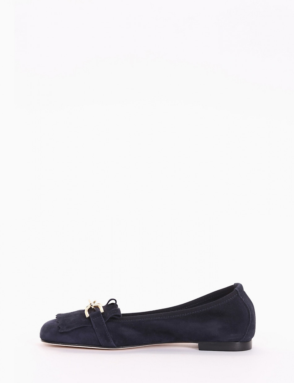 Loafers heel 1 cm blu chamois