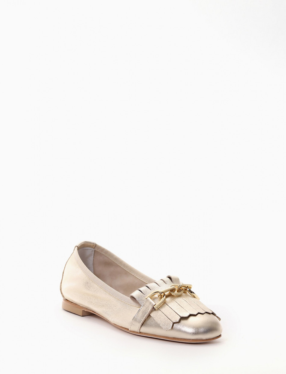 Loafers heel 1 cm gold laminated