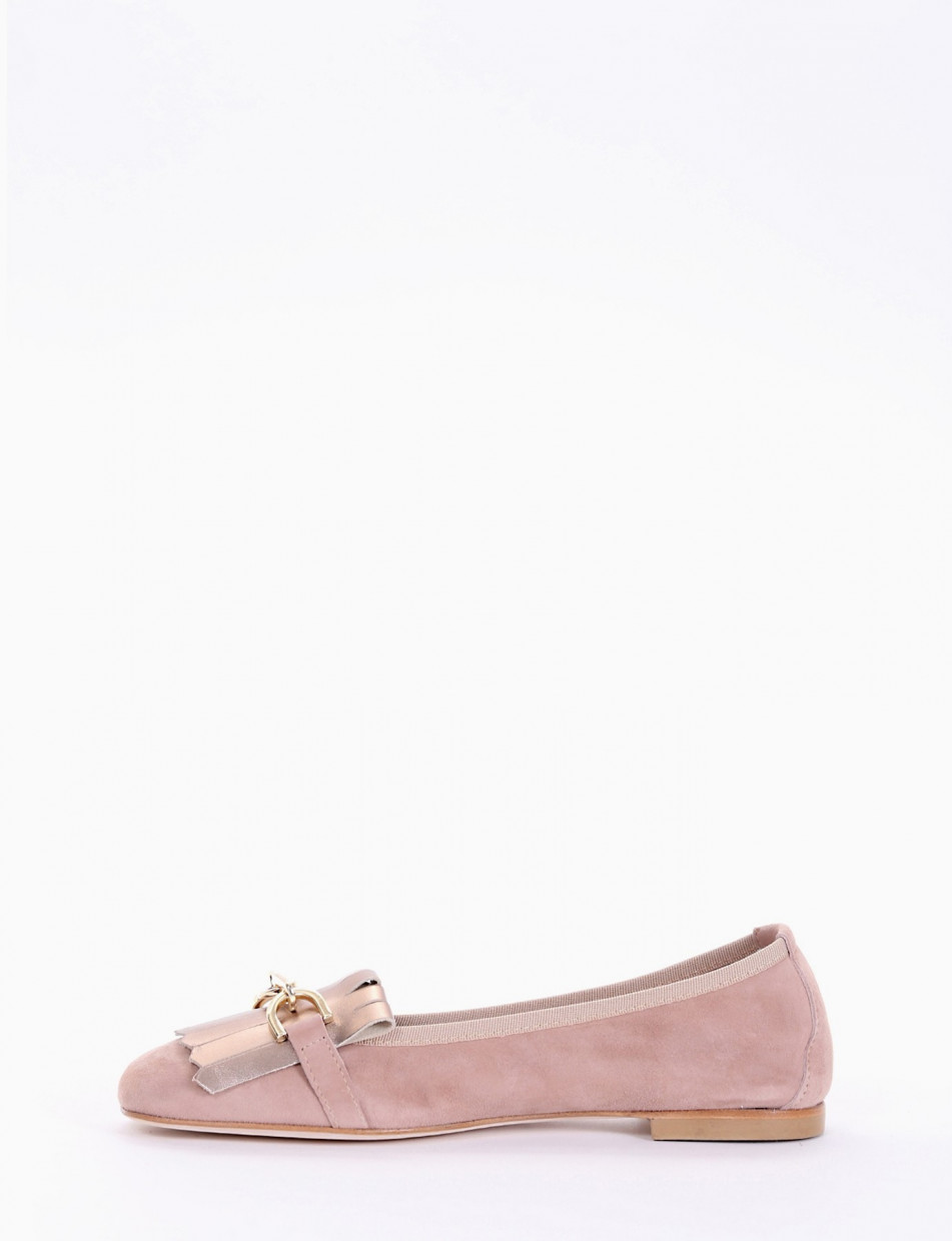 Loafers heel 1 cm pink chamois