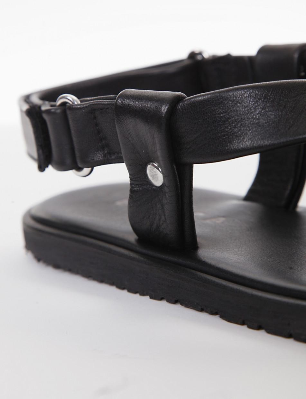 Sandals heel 1 cm black leather