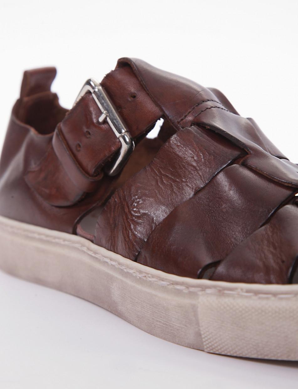 Sandals heel 1 cm brown leather
