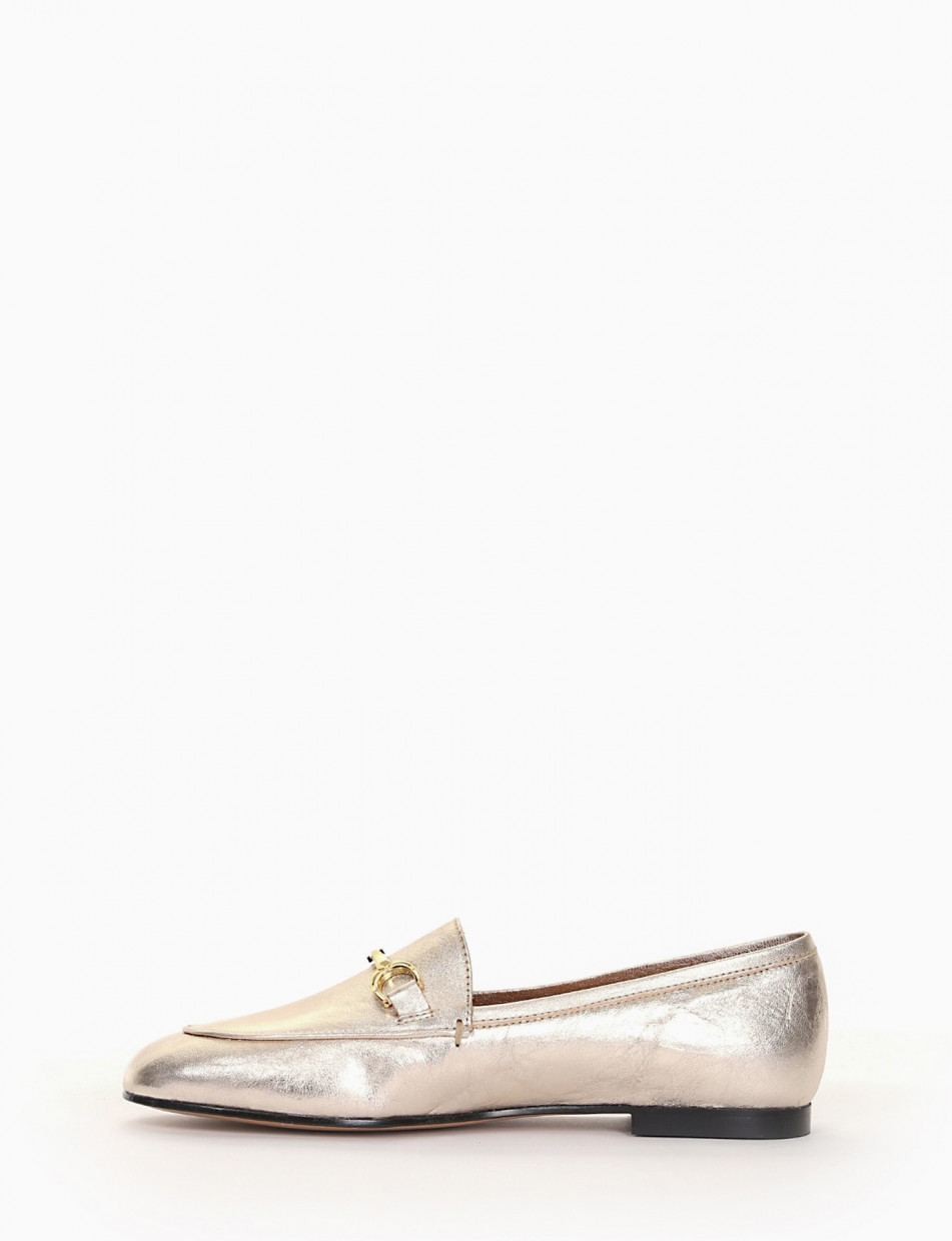 Loafers heel 1 cm silver laminated