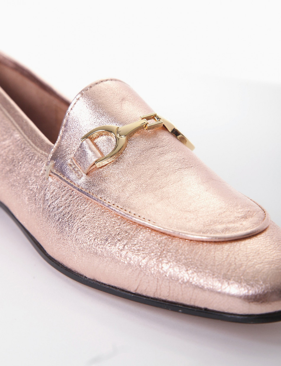 Loafers heel 1 cm copper laminated