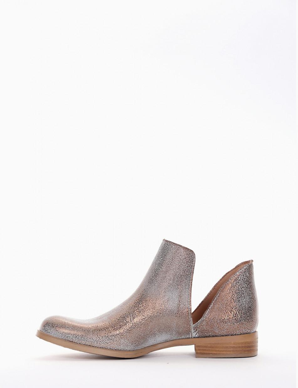 Low heel ankle boots heel 2 cm bronze leather