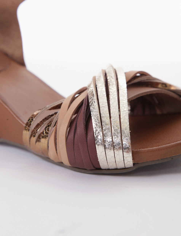 sandalo zeppa 5 cm oro